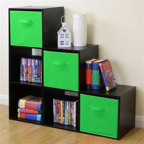 Black 6 Cube Kids Toygames Storage Unit Girlsboys
