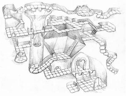 Dungeon Map Isometric Maps Drawing Fantasy Rpg