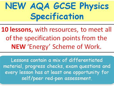 New Aqa Gcse Physics (2016)  Lessons For 'energy' Sow By