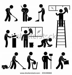 Man People Cleaning Washing Wiping Sweeping Stock Vector