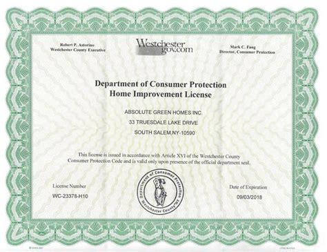 absolute green homes license  insurance certificates