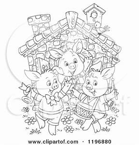 3 Little Pigs Black And White Clipart