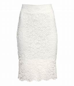 Lyst - H&m Lace Pencil Skirt in White