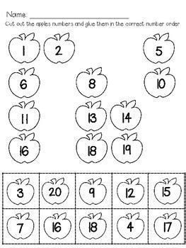 number apple order worksheet  cute  clever teaching tpt