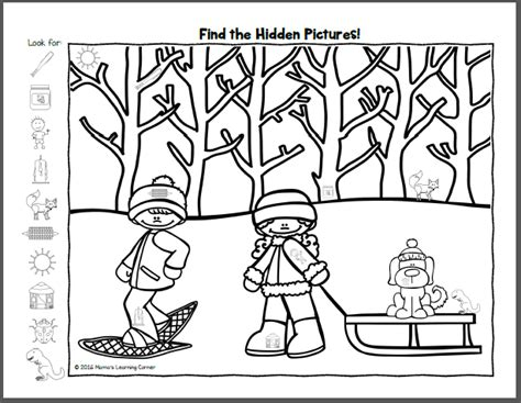 winter hidden picture worksheets mamas learning corner