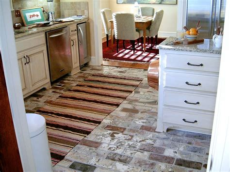 installing brick floor kitchen the best inexpensive kitchen flooring options