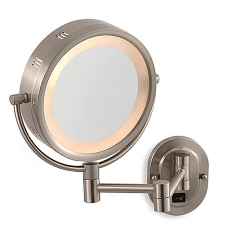 jerdon wall mount lighted mirror jerdon 5x 1x nickel lighted hardwired wall mount mirror