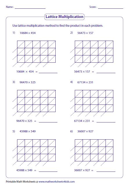 lattice math worksheets 2 digit by 2 digit multiplication worksheets with grids
