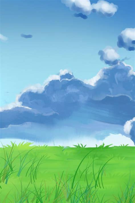 มือวาดท้องฟ้าสีฟ้าขาวเมฆบริภาษพื้นหลังโปสเตอร์ วาดด้วยมือ ...
