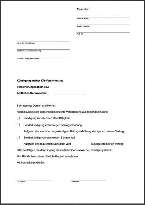 kfz versicherung check24 k 252 ndigungsschreiben an autoversicherung was muss rein