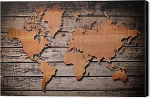 Carte Du Monde En Bois : tableau sur toile carte du monde sculpture sur bois planche pixers nous vivons pour changer ~ Teatrodelosmanantiales.com Idées de Décoration