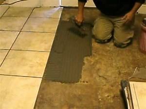 Ceramic tile flooring installation training by bh tile for How to install stone tile flooring