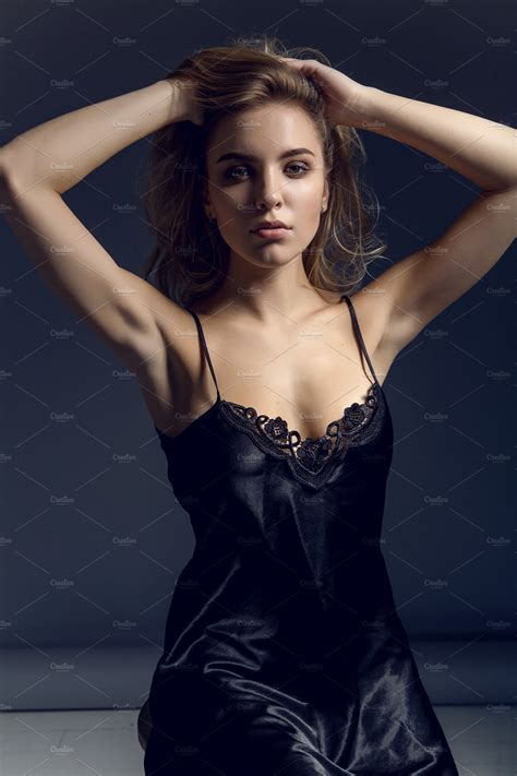 Sexy Model In Black Negligee In Studio ~ Beauty And Fashion Photos ~ Creative Market