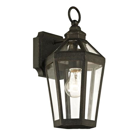 troy lighting calabasas 1 light vintage bronze 13 5 in h outdoor wall lantern sconce with clear