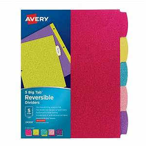 avery 7708 big tabtm pocket insertable plastic dividers With avery binder dividers 5 tab