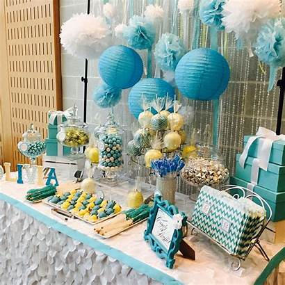 Shower Yellow Table Candy Sweets Buffet Tiffany