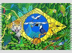 Pareo sarong With Flag And Animals Canga Bandeira Do