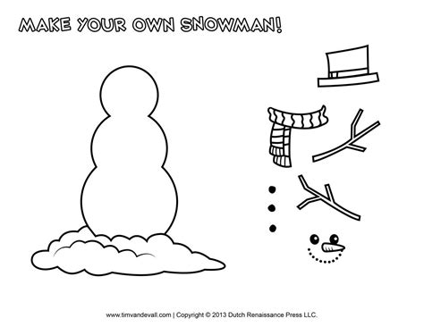 Free Snowman Clipart Template Printable Coloring Pages For