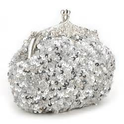 Toptie cute sequin bead clutch, evening handbag, gift idea - Silver, One Size