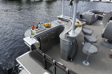 Luxury Pontoon Boats With Bar by Beverage Center Drink Holder And Mini Fridge On