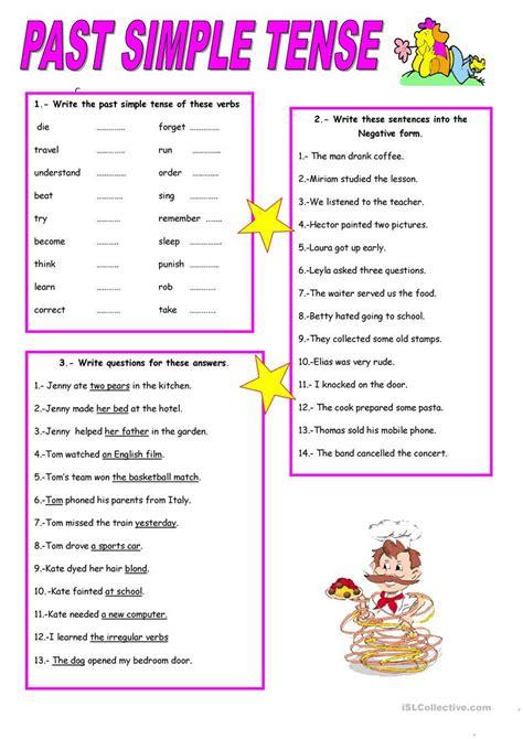 simple tense worksheet  esl printable