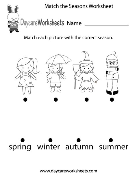 free preschool match the seasons worksheet