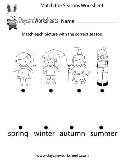preschool match  seasons worksheet