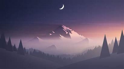 Minimal Moon Mountains Trees Background Resolution Minimalist