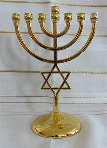 Jewish Star of David 7 Branch Gold Temple Menorah - 7 ...