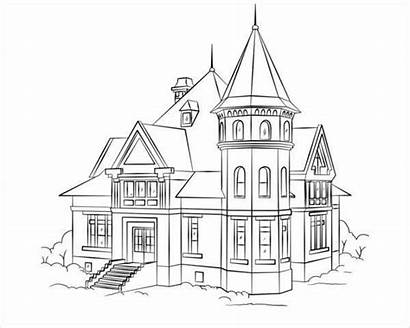 Coloring Pages Colouring Victorian Template Printable Houses