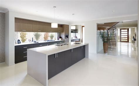 Kitchen Top Cupboards by White Waterfall Bench Top With Grey Cupboards Kitchens