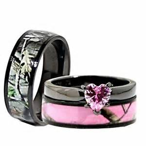 camouflage wedding ring sets his black pink titanium camo stainless steel engagement wedding rings ebay