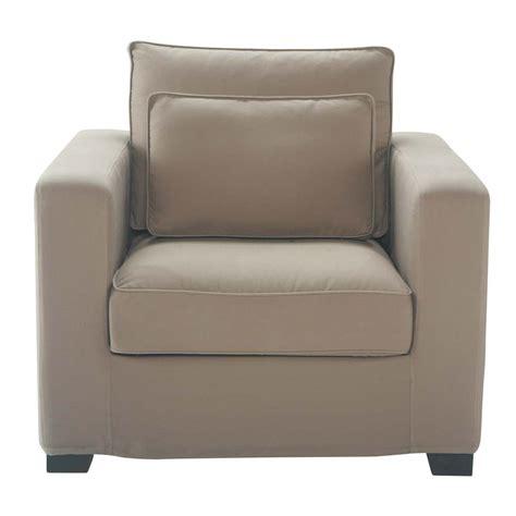 fauteuil en coton taupe milano maisons du monde