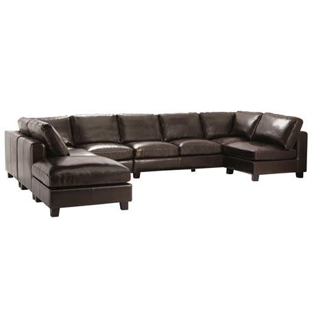 canapé d 39 angle forme u 7 places en croûte de cuir chocolat