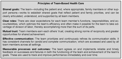 core principles values  effective team based health