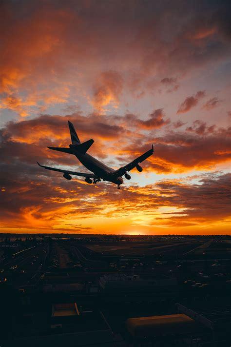 sunset airplane aesthetic wallpaper