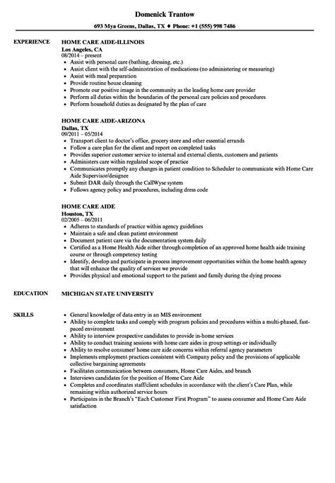 Personal Care Aide Resume by Home Care Aide Resume Sles Velvet
