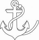Anchor Clip Line Outline Colorable Sweetclipart sketch template