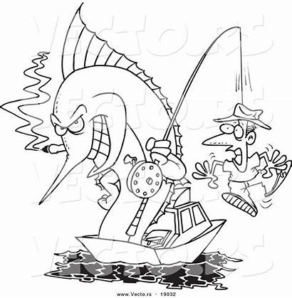 Coloring Fishing Hook Cartoon Marlin Outlined Toonaday