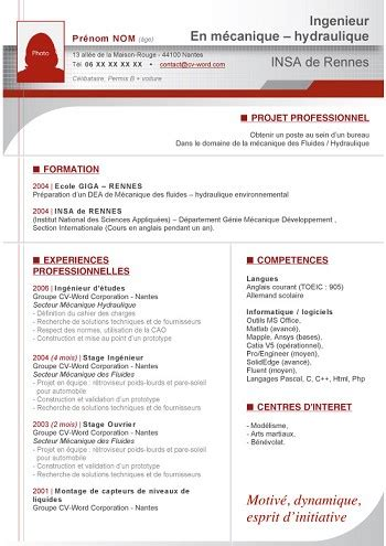 Modele Cv Informatique Word by Exemple De Cv Informatique Word