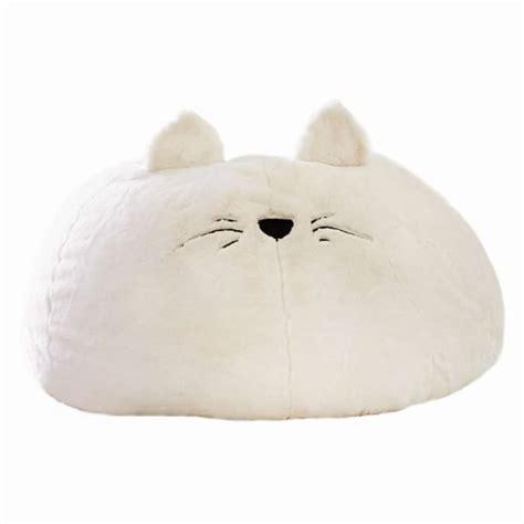 cat faux fur beanbag pbteen