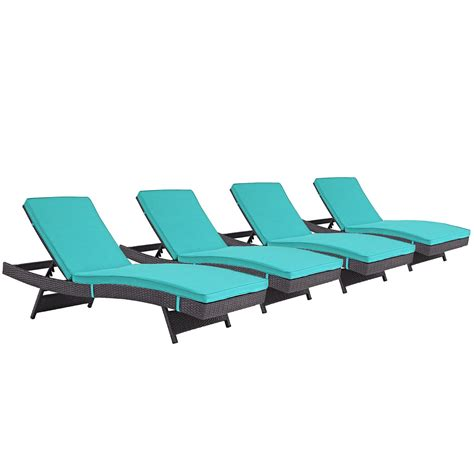 chaise turquoise set of 4 convene casual outdoor patio chaise with rattan