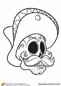 Tete De Mort Mexicaine Dessin : coloriage d une t te de mort du mexique avec un sombrero ~ Melissatoandfro.com Idées de Décoration