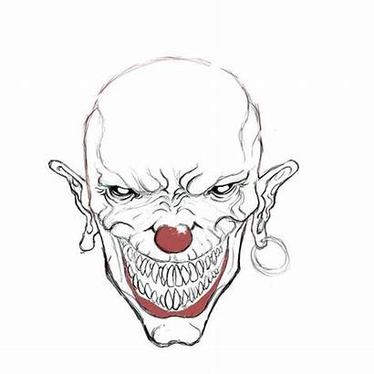 Evil Clown Scary Drawings Clowns Easy Drawing