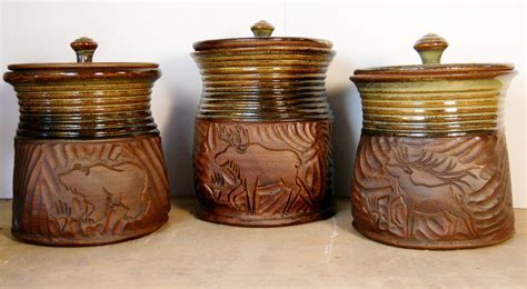 New Bronze and Brown Canister Set   Jenny Gulch Pottery & Art