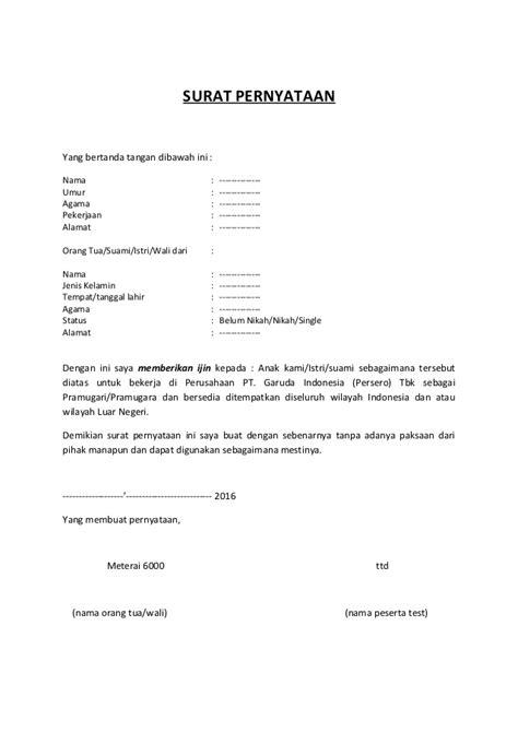 surat pernyataan izin  tuawalisuami