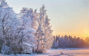 House Cabin Sunset Trees Snow Winter HD wallpaper | nature ...