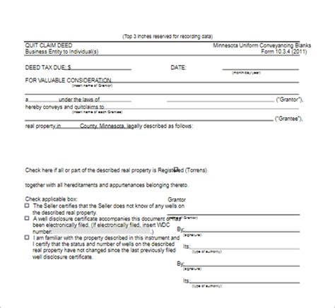 quit claim deed form templates   word formats