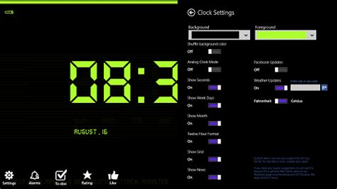 Windows 8 Night Time Clock App