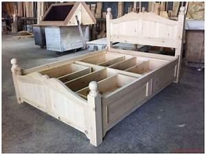 Lit Double Avec Tiroir : lit double avec tiroirs lits tables de nuit mobiliers cuisines sur mesure boutique ~ Teatrodelosmanantiales.com Idées de Décoration